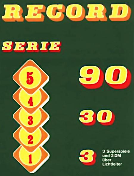 Sehr dadaistisch anmutendes Detail aus eine Reklame für den Bergmann-Geldspielautomaten Record Serie 90 aus dem Jahr 1975, in seiner Komposition unbeschreiblich...