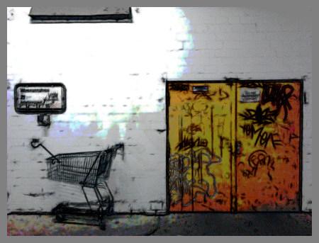 Stark mit Gimp nachbearbeitetes Foto einer dreckigen Tür mit Graffiti und einem Einkaufswagen daneben, aufgenommen im Ihmezentrum in Hannover-Linden