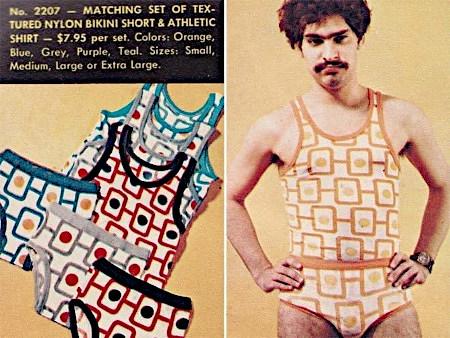 Unbeschreibliches Detail aus einem Versandhauskatalog der Siebziger Jahre: No. 2207 - Matching set of textured nylon bikini short & athletic shirt -- $7,95 per set -- Colors: orange, blue, grey, purple, teal; Sizes: small, medium, large or extra large
