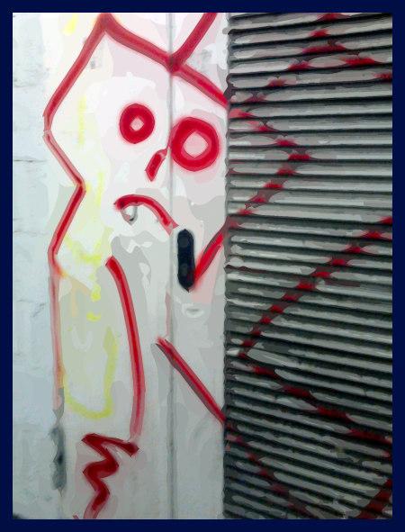 Stark mit Gimp nachbearbeitetes Foto eines Graffitos in der Ruine des Ihmezentrums in Hannover-Linden
