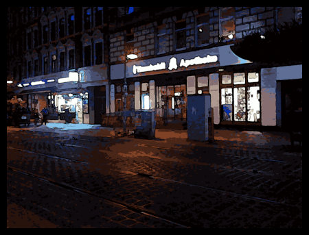 Stark mit Gimp bearbeitetes Foto der Limmerstraße in Hannover-Linden