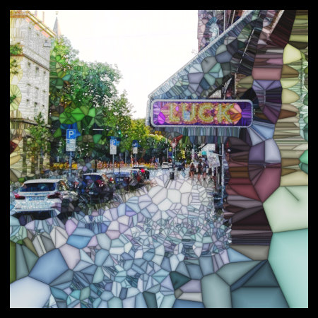 Kaum beschreibliche Bearbeitung eines Fotos mit Gimp, welche die Außenwerbung einer Spielhalle mit dem Wort 'Luck' zeigt.