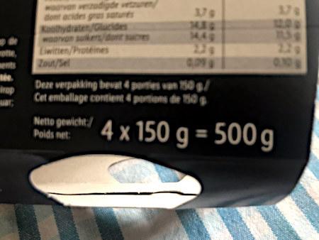 (Niederländische) Verpackung von vier Portionen mit Aufdruck 4 x 150g = 500 g