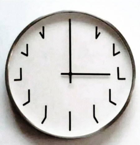 Schwierig zu beschreibendes Foto von einer Uhr, deren Ziffernblatt an den jeweiligen Stundenpositionen keine Zahlen, sondern die Stellung der Zeiger angibt.