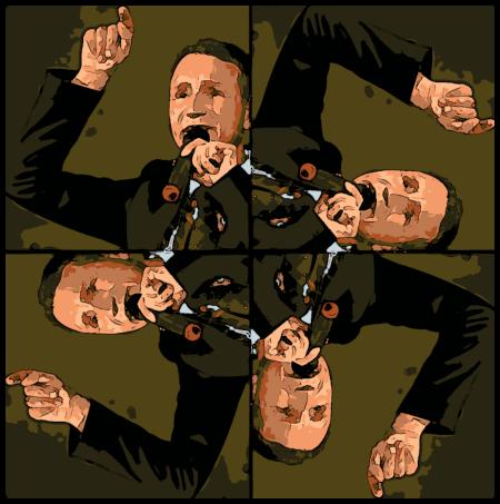 Ein stark bearbeitetes Foto des redenden Björn Höcke so vierfach angeordnet, dass die Arme eine Swastika bilden