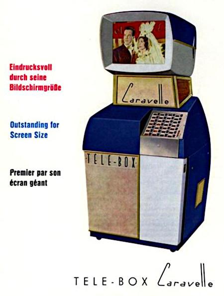 Detail einer Werbung aus einem Fachmagazin für Automatenaufsteller aus dem Jahr 1963 -- Eindrucksvoll durch seine Bildschirmgröße -- Tele-Box Caravelle -- Das Gerät ist so etwas ähnliches wie eine Musikbox mit Bildschirm