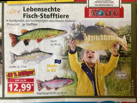 Lebensechte Fisch-Stofftiere -- Handgenäht, aus hochwertigem waschbaren Material -- je Stofftier 12,99 € -- 48 Prozent billiger -- Karpfen, ca. 64 cm -- Hecht, ca. 80 cm -- Zander, ca. 77 cm -- Regenbogenforelle, ca. 62 cm