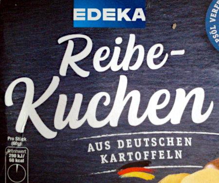 Produktverpackung -- Edeka -- Reibekuchen -- aus deutschen Kartoffeln
