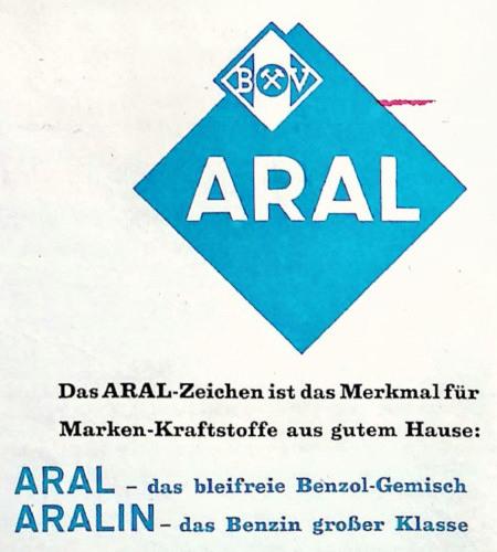 Detail aus einer ARAL-Reklame aus dem Jahr 1960: ARAL-Logo -- Das ARAL-Zeichen ist das Merkmal für Marken-Kraftstoffe aus gutem Hause -- ARAL: Das bleifreie Benzol-Gemisch -- ARALIN: Das Benzin großer Klasse