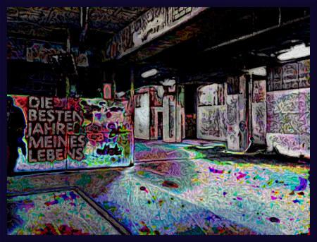 Stark mit Gimp bearbeitetes Foto aus dem Sockelgeschoss der Ruine des Ihmezentrums in Hannover-Linden