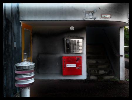 Stark mit Gimp bearbeitetes Foto vom Treppenaufgang Ihmepassage 8/8a in der Ruine des Ihmezentrums in Hannover-Linden