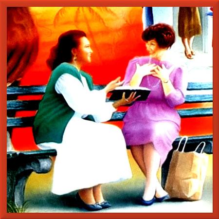 Stark mit Gimp bearbeitete Kleinstgrafik aus einem Wachtturm der Zeugen Jehovas. Eine Frau mit Bibel in der Hand erzählt einer anderen Frau, die überschwänglich begeistert von dieser Erzählung ist