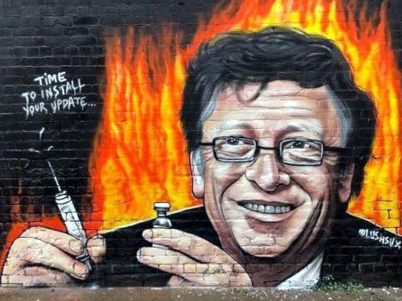 Graffito von Bill Gates mit einer Spritze in der einen und einer Flasche Injektionsflüssigkeit in der anderen Hand, dazu der Text: Time to install your update!
