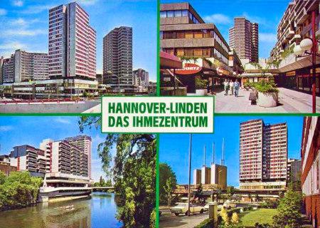 Eine Ansichtskarte aus den Siebziger Jahren mit vier Fotos des damals hochmodernen Ihmezentrums -- Hannover-Linden -- Das Ihmezentrum