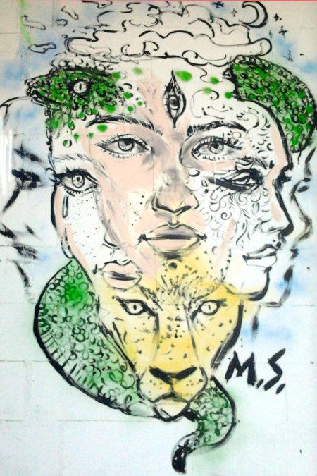 Graffito an der Ruine des Ihmezentrums in Hannover-Linden