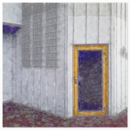 Mit Gimp bearbeitetes Foto einer Tür in der Ruine des Ihmezentrums in Hannover Linden