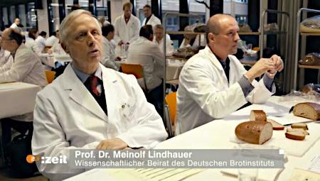 Screenshot ZDF. Texteinblendung zum Sprecher: Prof. Dr. Meinolf Lindhauer -- Wissenschaftlicher Beirat des Deutschen Brotinstitutes