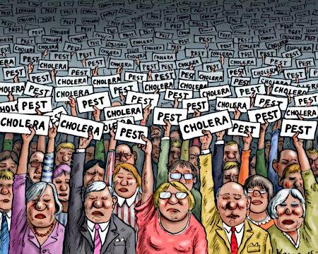 Eine Menschenmasse, jeder Mensch hält ein Schild hoch, auf dem 'Pest' oder 'Cholera' steht.