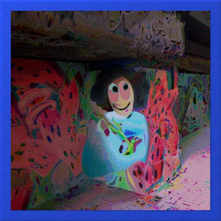 Stark mit Gimp bearbeitetes Foto eines Graffitos an der Ruine des Ihmezentrums in Hannover-Linden