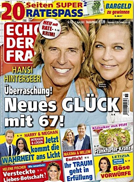 Titelseite 'Echo der Frau' aus dem Jahr 2021 -- Hansi Hinterseer -- Überraschung! Neues Glück mit 67