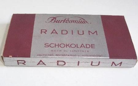 Burkbraun Radium Schokolade -- Nach Dr. Senftner -- Deutsches Reichspatent und Auslandspatent