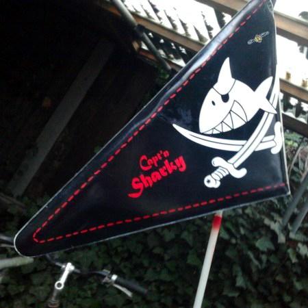 Fahne an einem Kinderfahrrad: Zeichnung eines Haifisches mit Augenklappe, darunter zwei gekreuzte Degen. Capt'n Sharky