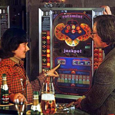 Detail aus einer Werbung für das Geldspielgerät Rotamint Jackpot von NSM aus dem Jahr 1978